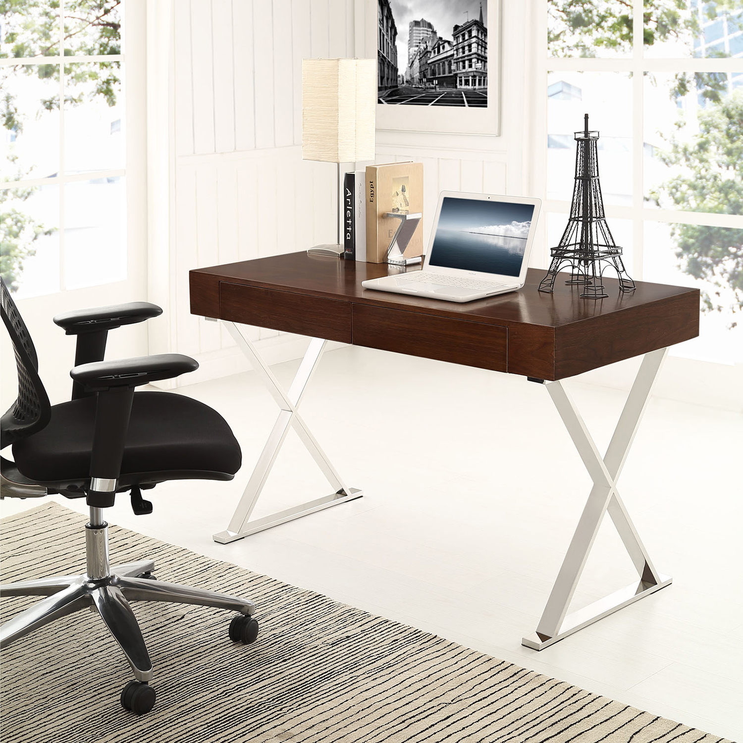Sector Rectangular Office Desk - Walnut - EEI-1183-WAL