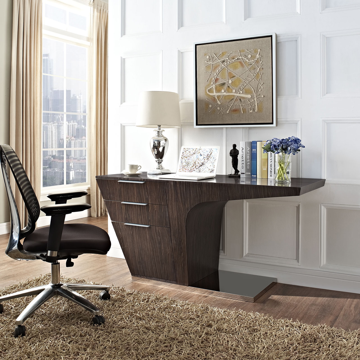 Warp 3 Drawers Office Desk - Walnut - EEI-1188-WAL