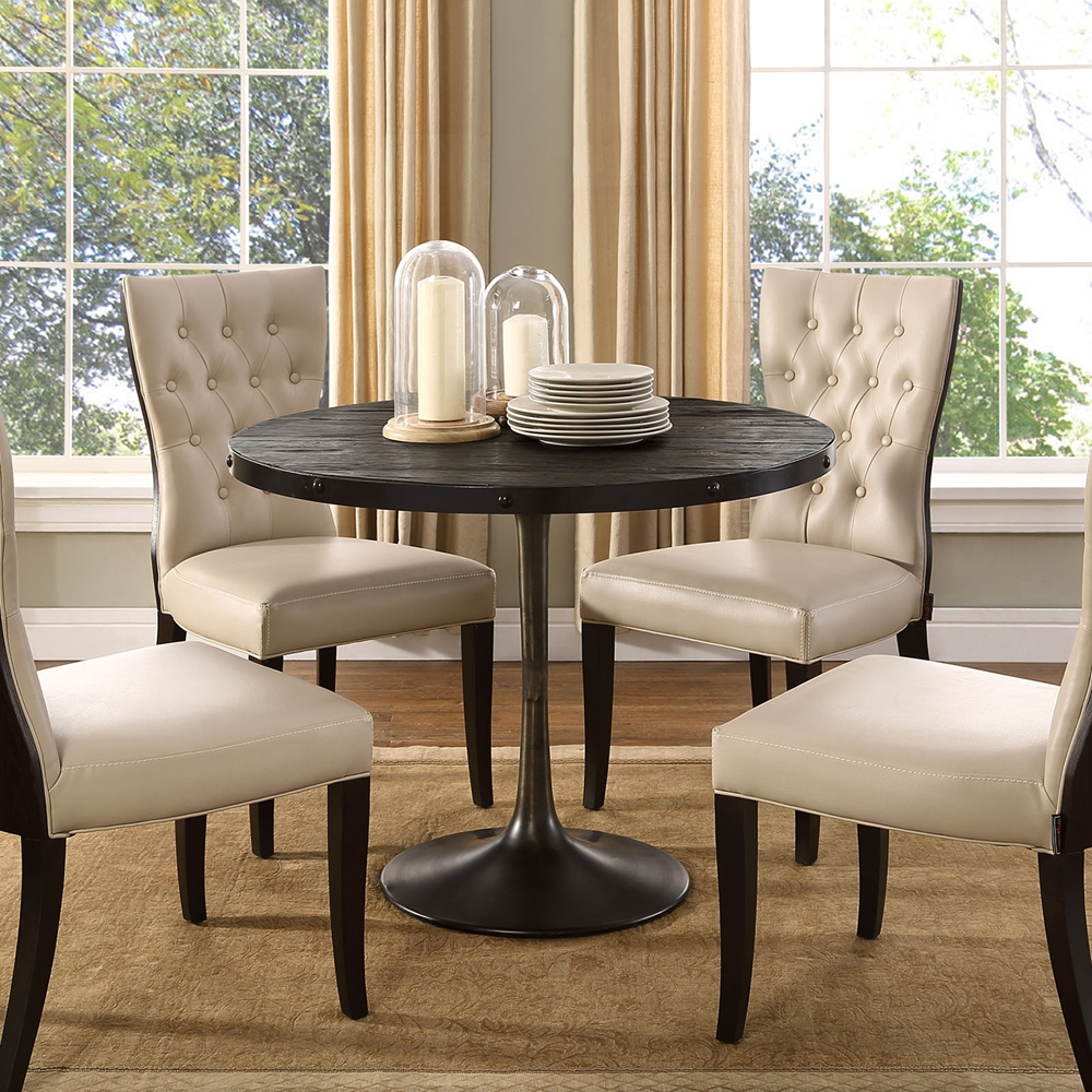 Drive Wood Top Dining Table Round Pedestal Black Dcg
