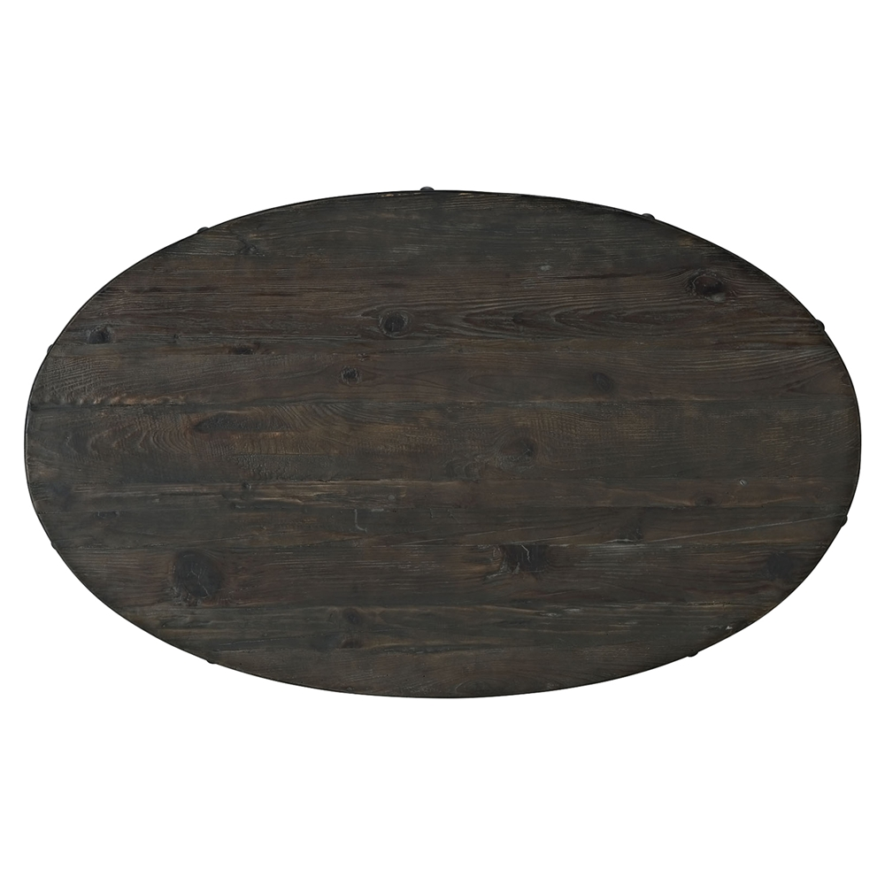 Oval Pedestal Coffee Table: Drive Wood Top Coffee Table - Oval, Pedestal, Black