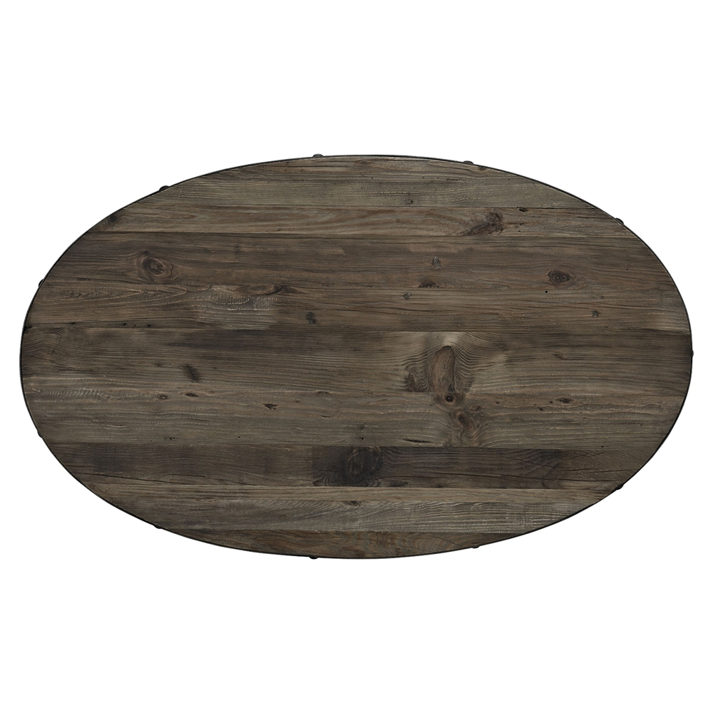 Drive Wood Top Coffee Table Oval Pedestal Brown Dcg