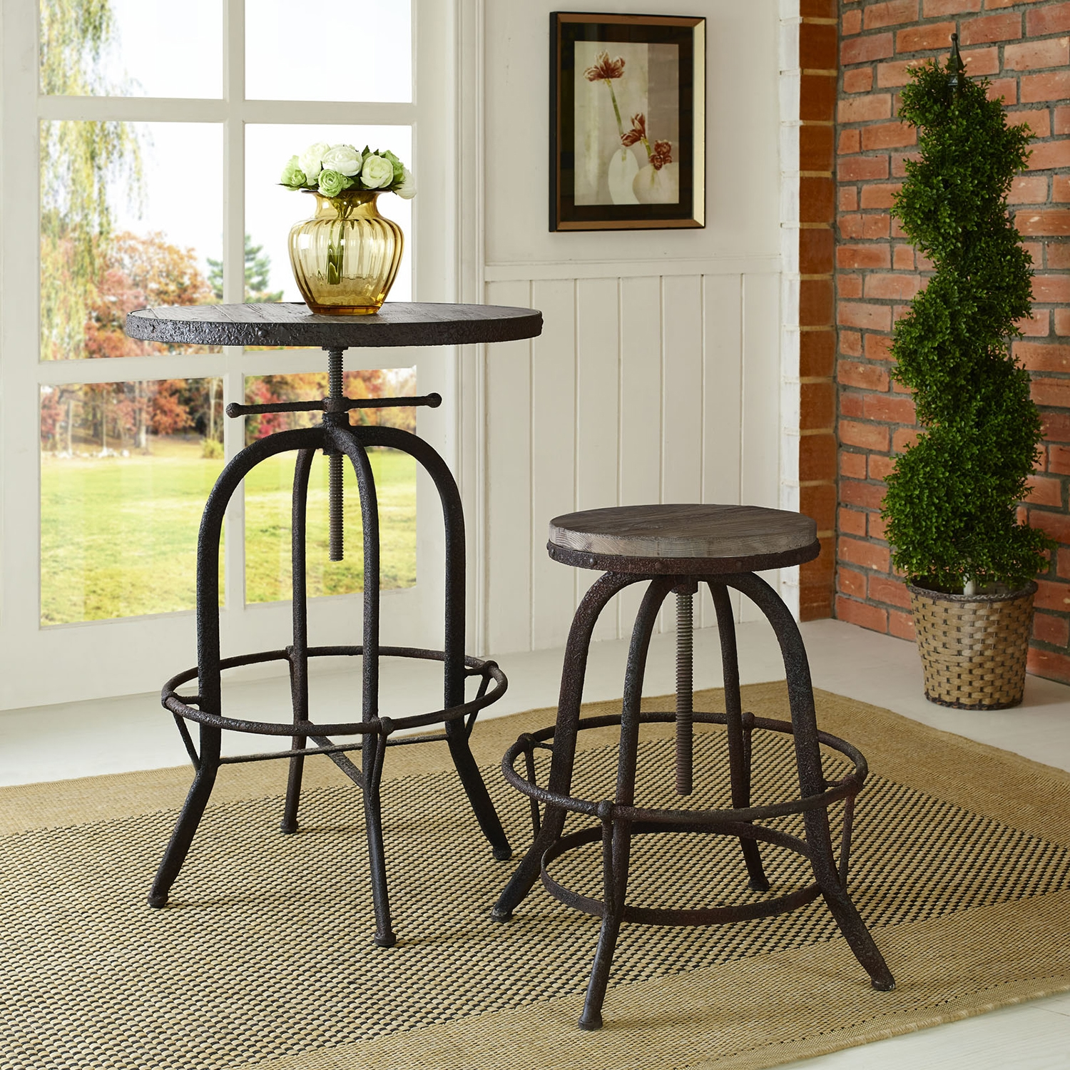 Collect Wood Top Bar Stool - Backless, Brown - EEI-1208-BRN