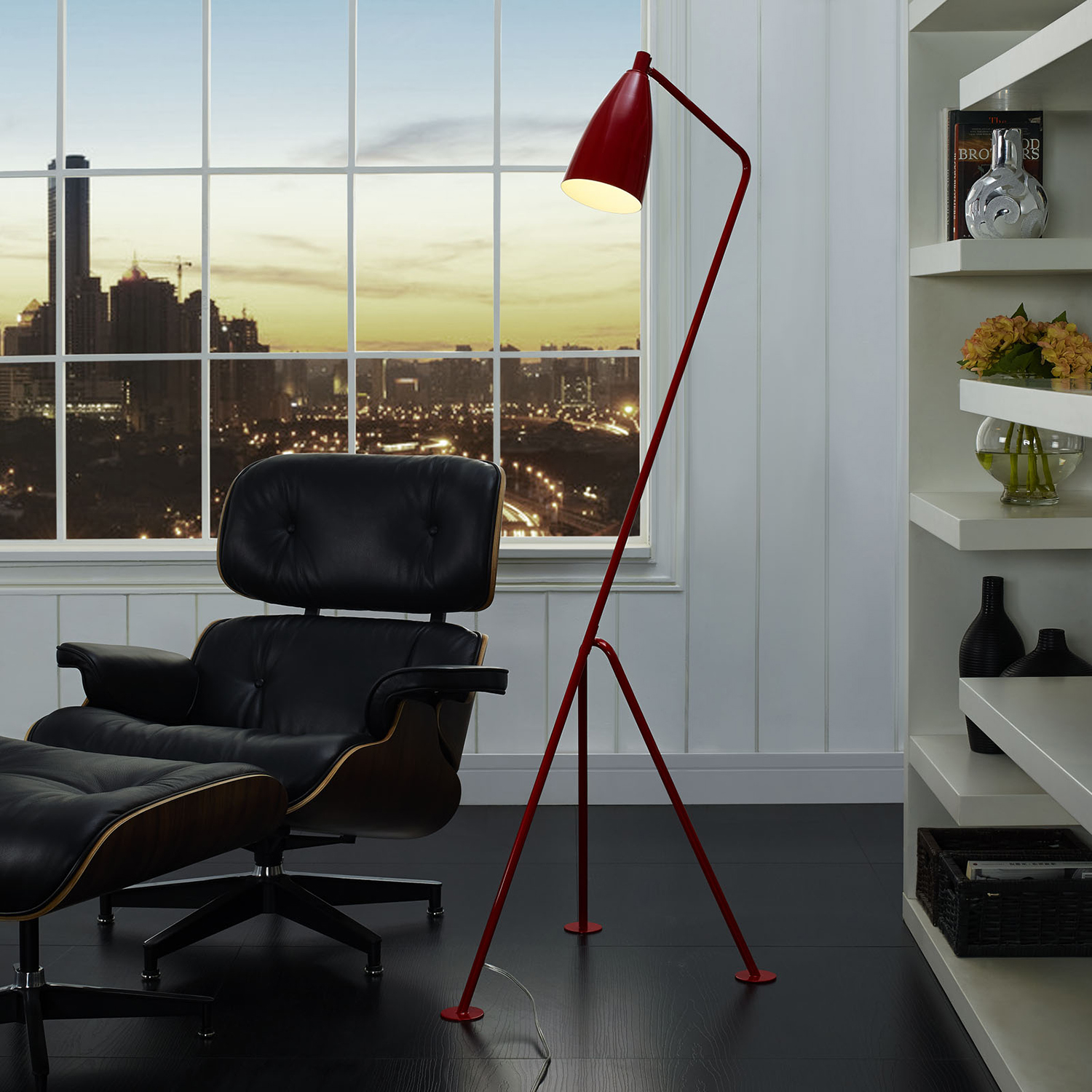 Askance Floor Lamp - Red - EEI-1227-RED