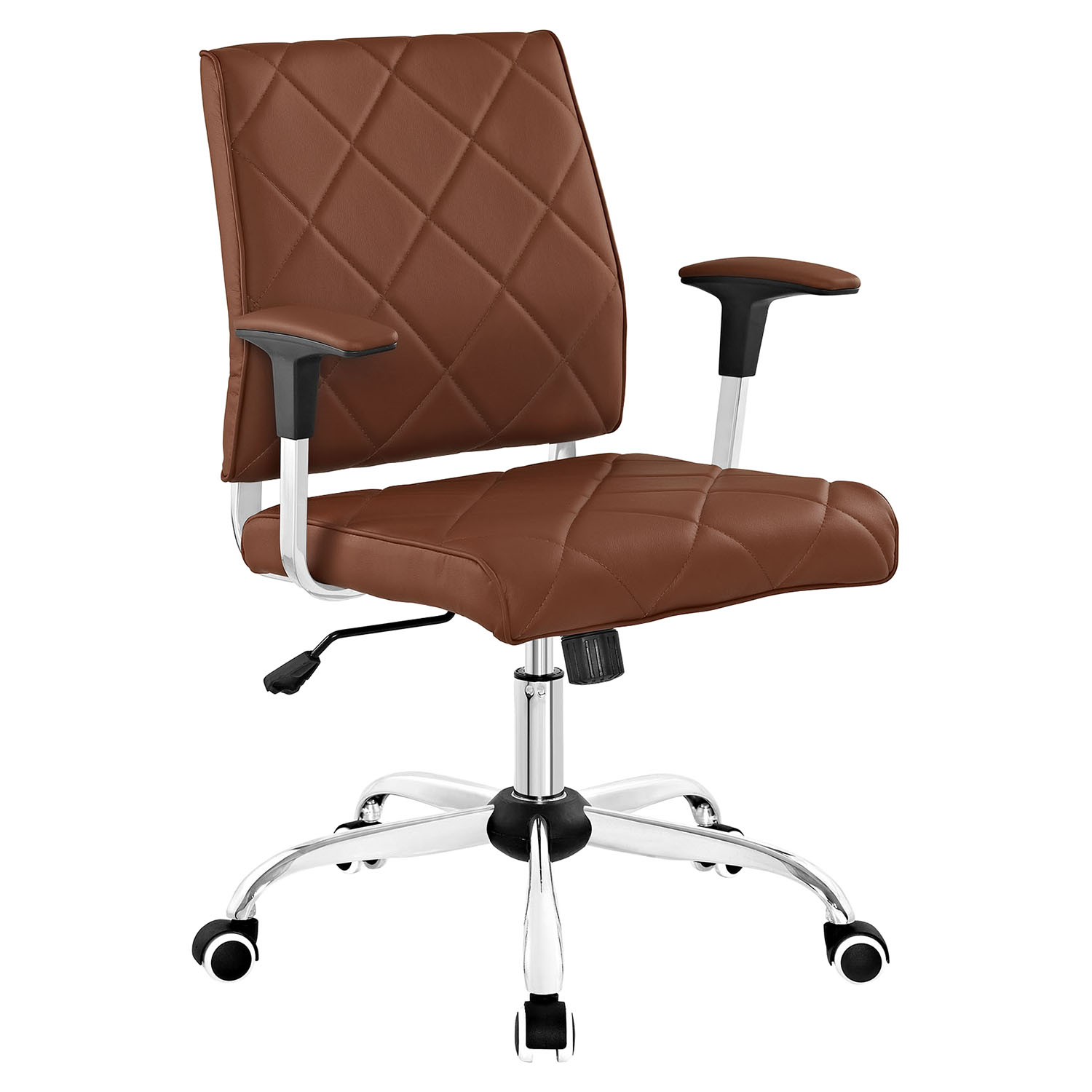Lattice Leatherette Office Chair - Adjustable Height, Swivel, Armrest - EEI-1247