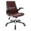 Premier High Back Office Chair - Adjustable Height, Swivel, Armrest, Brown - EEI-1251-BRN