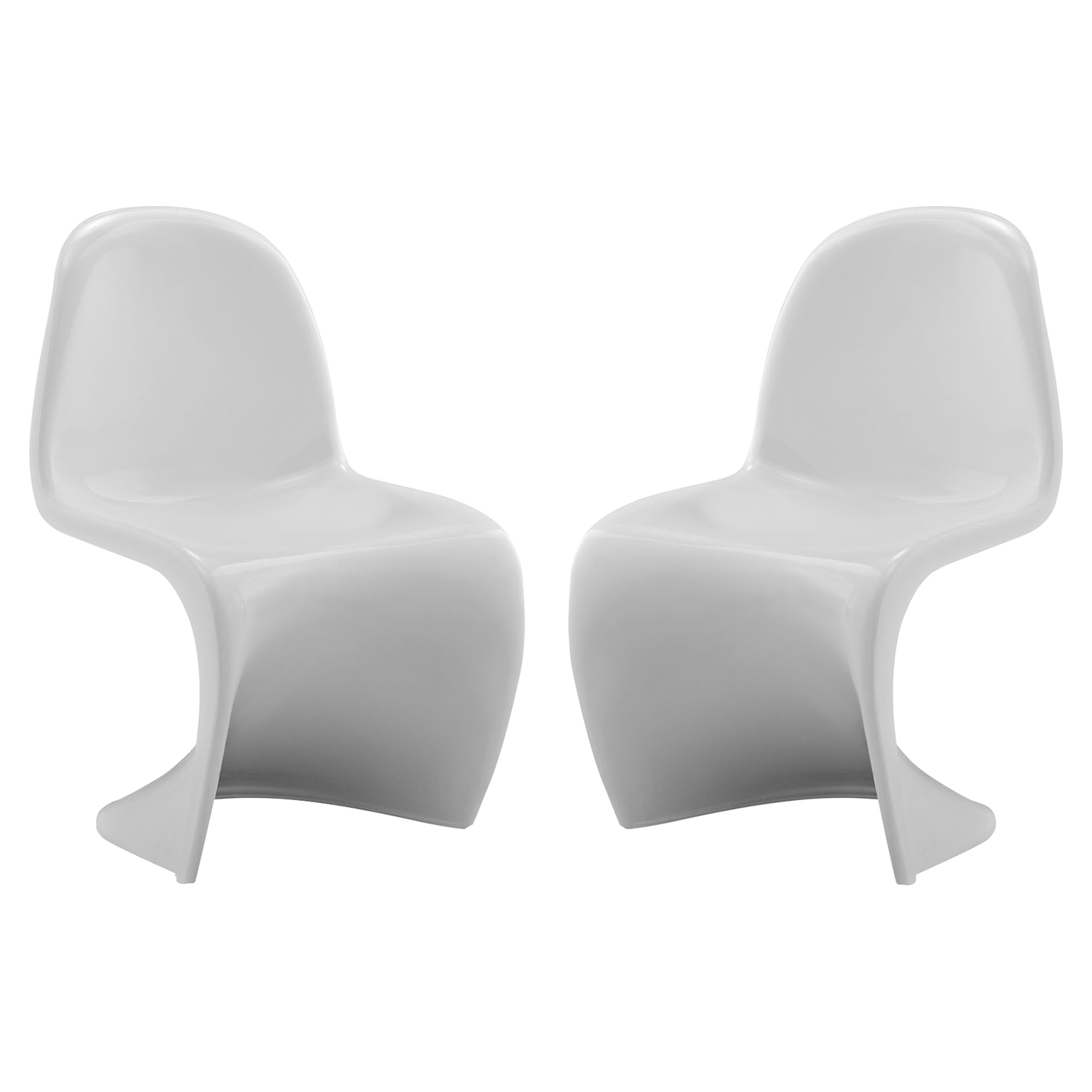 Slither Kids Chair - High Back, White (Set of 2) - EEI-1252-WHI