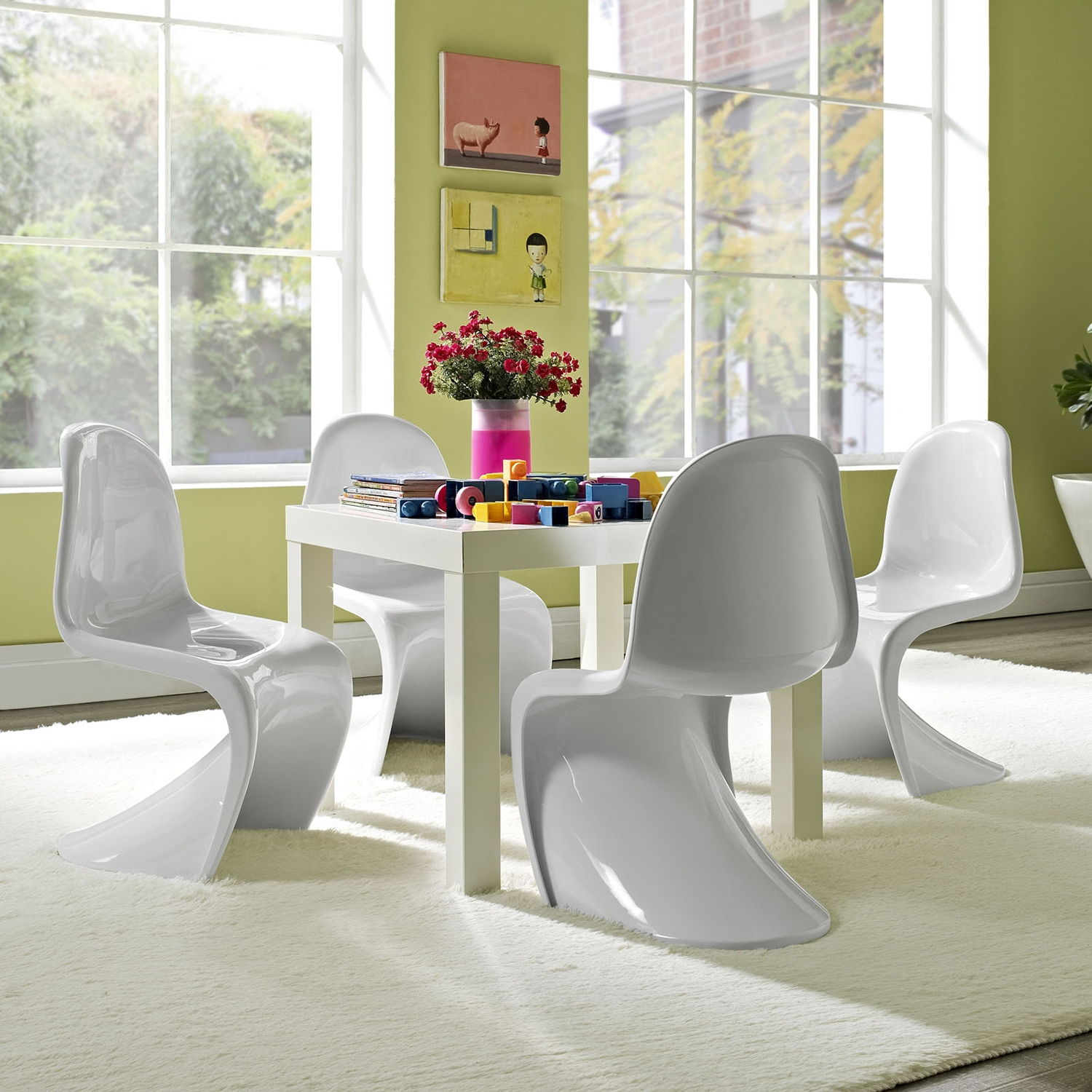 Slither Kids Chair - White, High Back (Set of 4) - EEI-1253-WHI