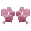 Slither S-Shaped Dining Side Chair - Pink (Set of 4) - EEI-1255-PNK