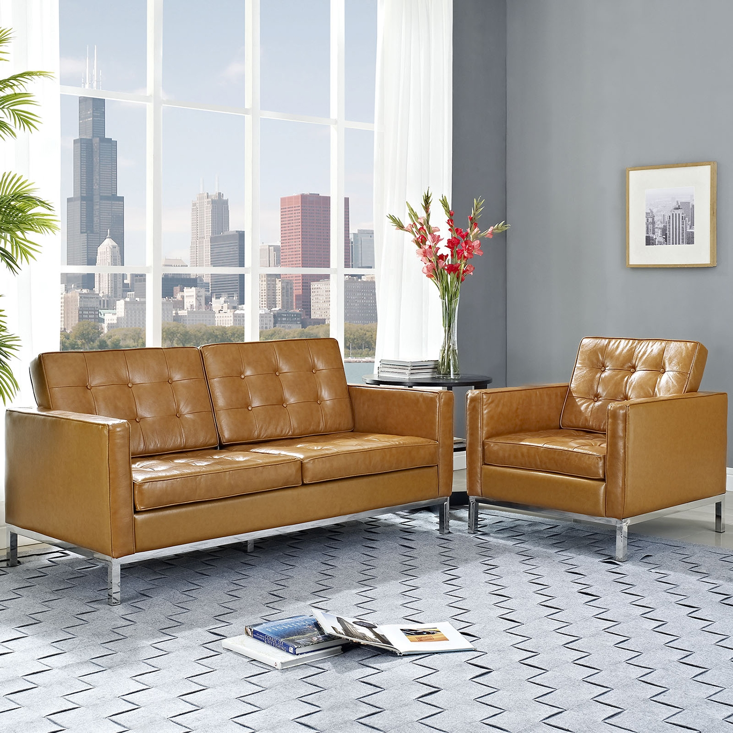 Loft 2 Pieces Armchair and Loveseat - Tufted, Leather, Tan - EEI-1269-TAN