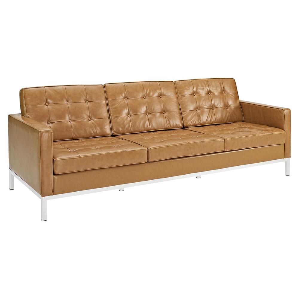 Loft 3 pieces sofa set leather tufted tan dcg stores for Tan sofa set