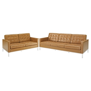 Loft 2 Pieces Loveseat and Sofa - Leather, Tufted, Tan