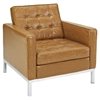 Loft Leather Armchair - Tan, Tufted - EEI-183-TAN