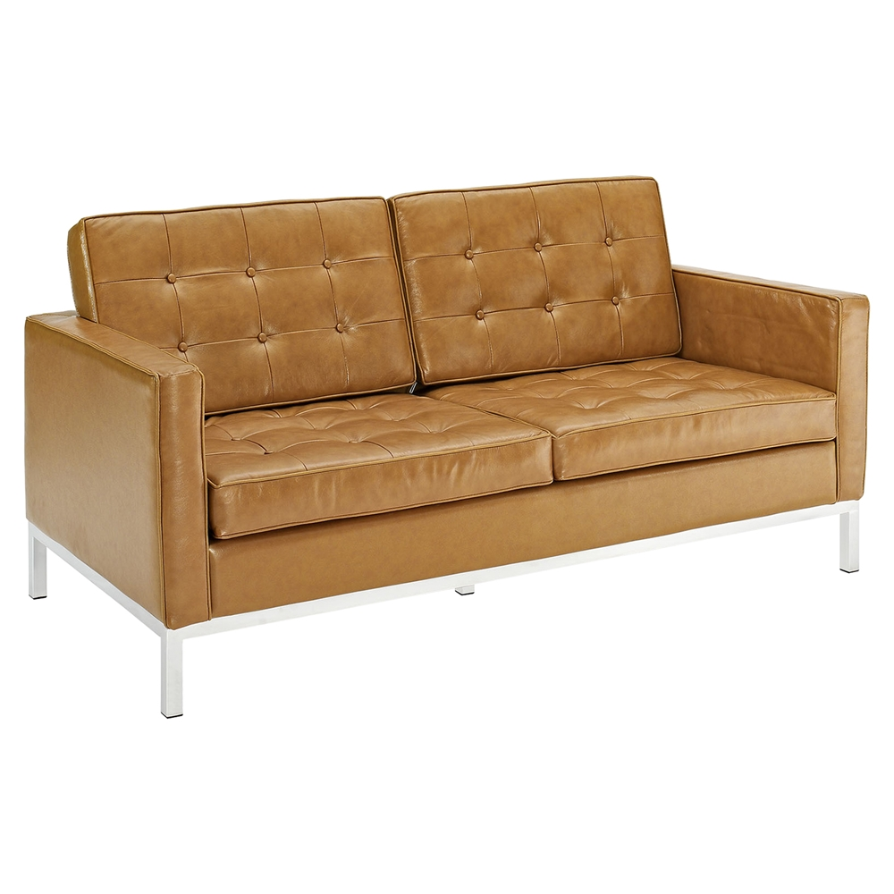 Loft 2 Pieces Loveseat And Sofa Leather Tufted Tan Dcg Stores