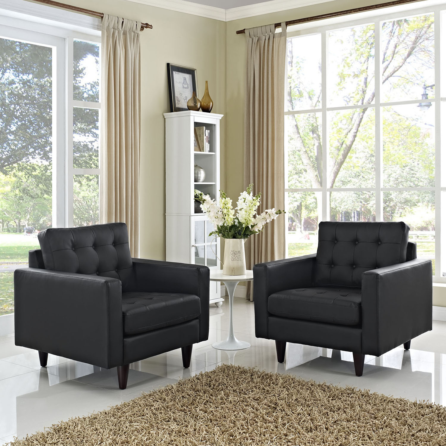 Empress Bottom Tufted Leather Armchair - Black (Set of 2) - EEI-1282-BLK
