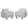 Empress Button Tufted Leather Armchair - White (Set of 2) - EEI-1282-WHI