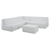 Align 4 Pieces Bonded Leather Sectional Sofa Set - White - EEI-1285-WHI