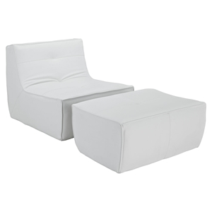 Align Bonded Leather Chair and Ottoman Set - White