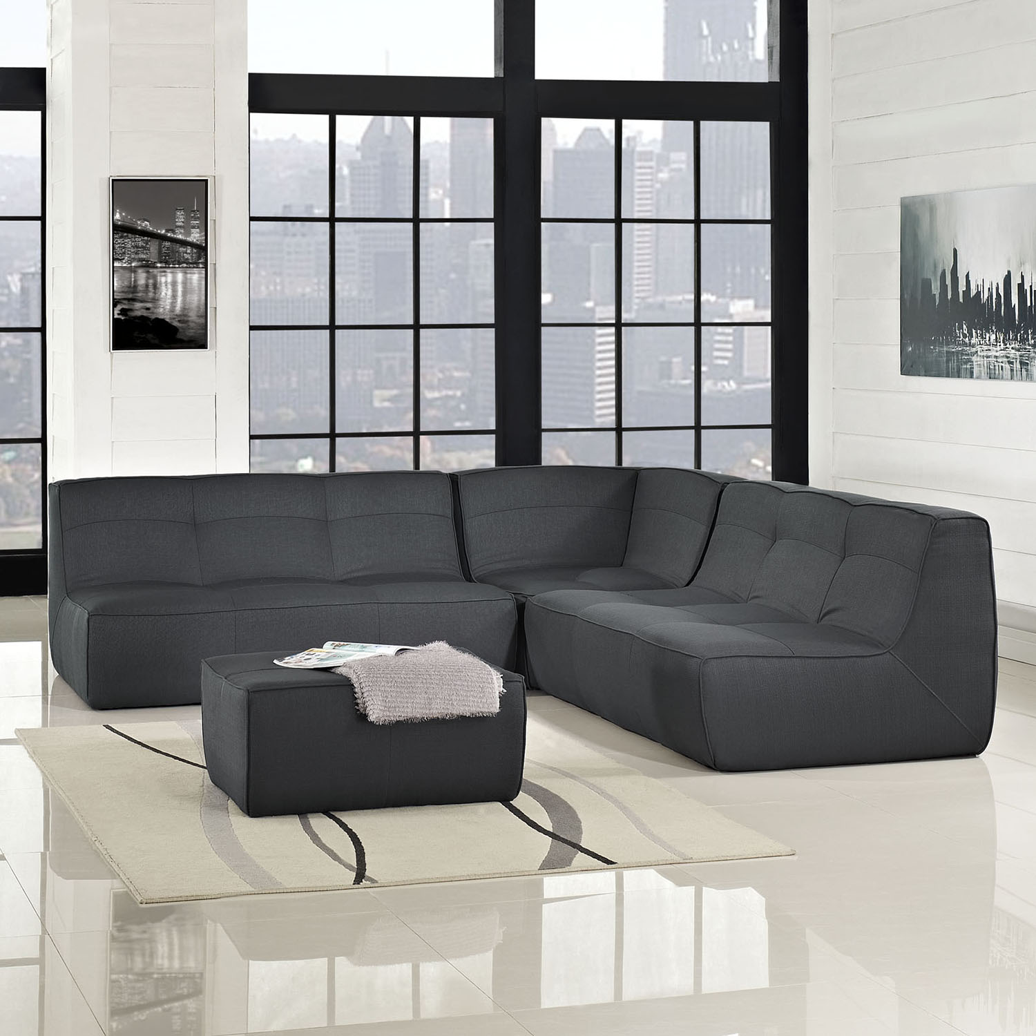 Align 4 Pieces Upholstered Sectional Sofa Set - Tufted, Charcoal - EEI-1288-CHA