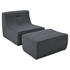 Align Upholstered Armless Chair and Ottoman Set - Charcoal - EEI-1290-CHA