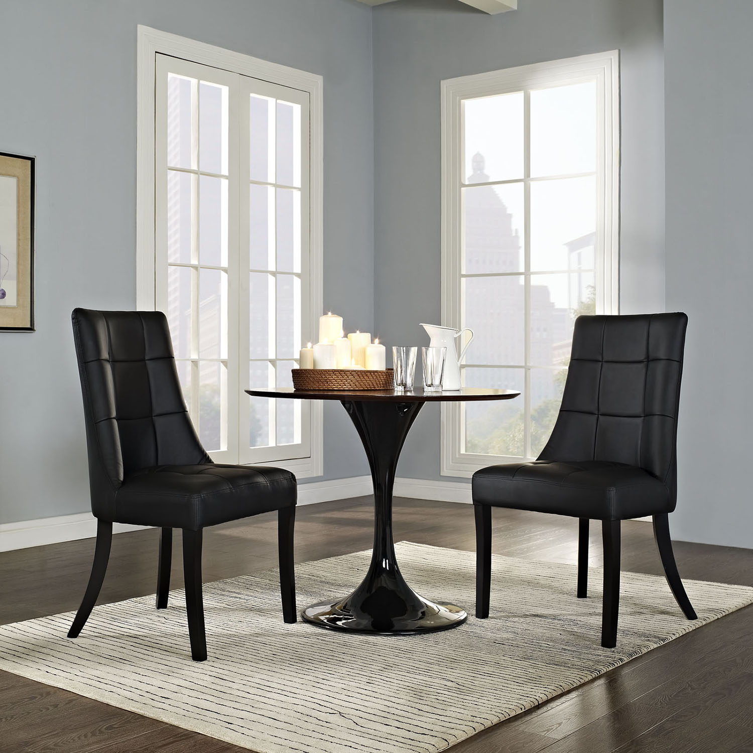 Noblesse Leatherette Dining Chair - Black (Set of 2) - EEI-1298-BLK