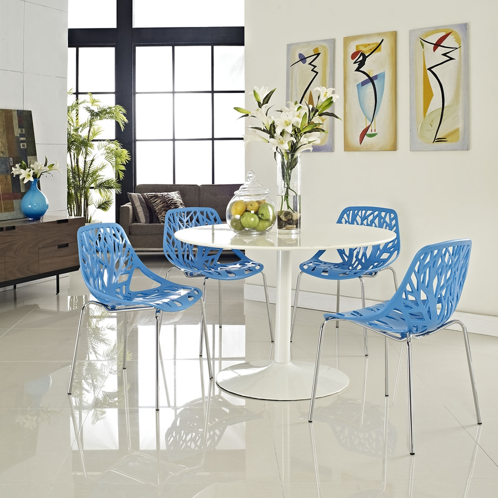 Stencil Dining Side Chair - Stackable, Blue (Set of 4 ...