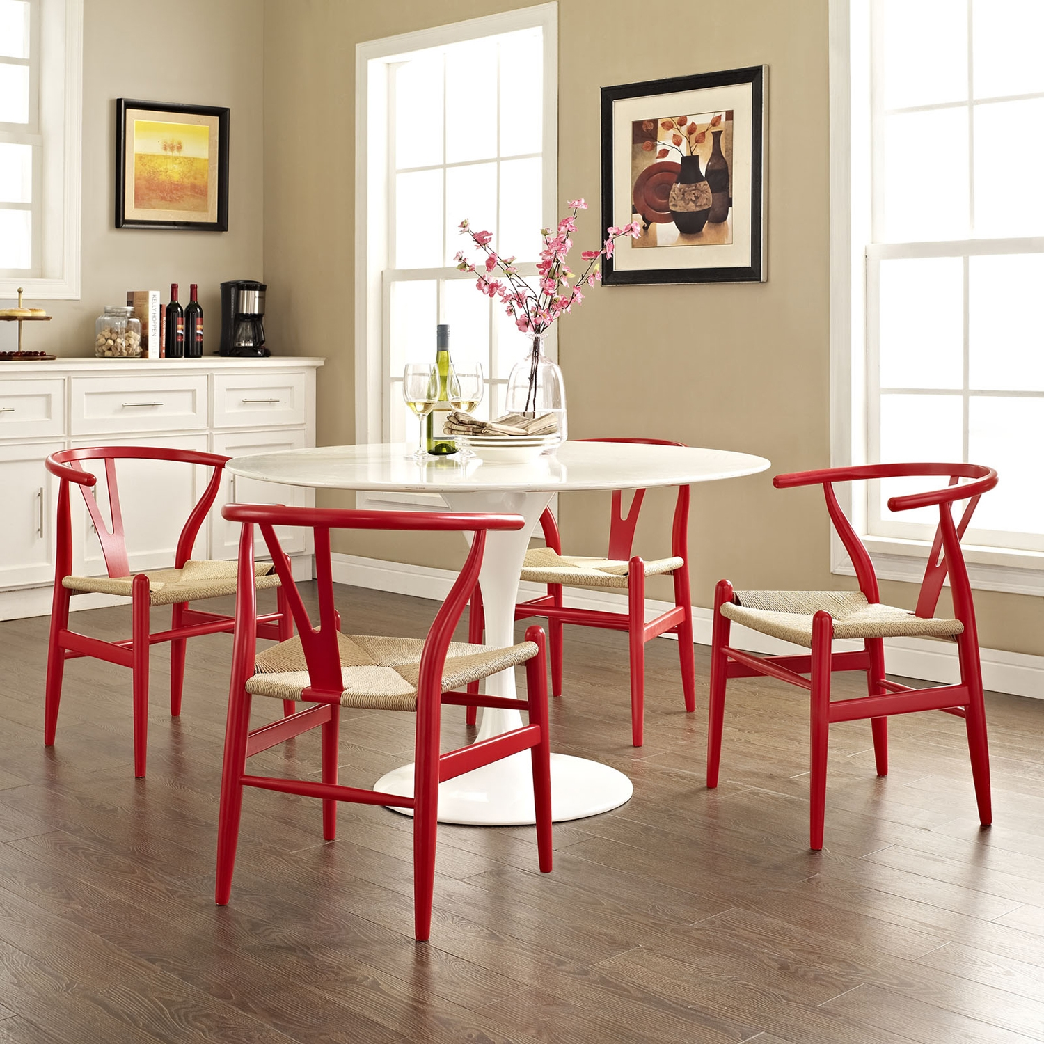 Amish Dining Armchair - Wood Frame, Red (Set of 4) - EEI-1320-RED