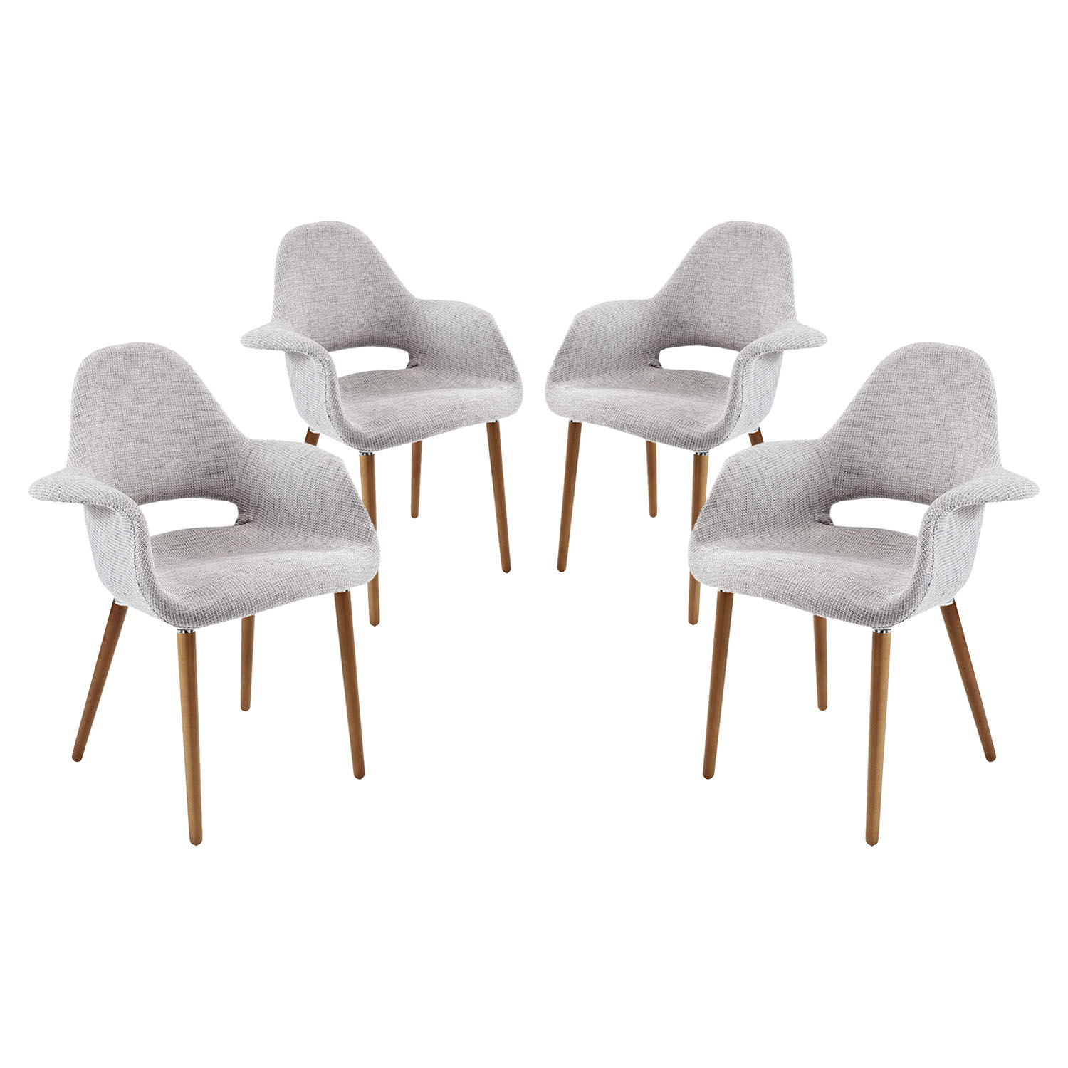 Aegis Dining Armchair - Wood Legs, Light Gray (Set of 4) - EEI-1330-LGR