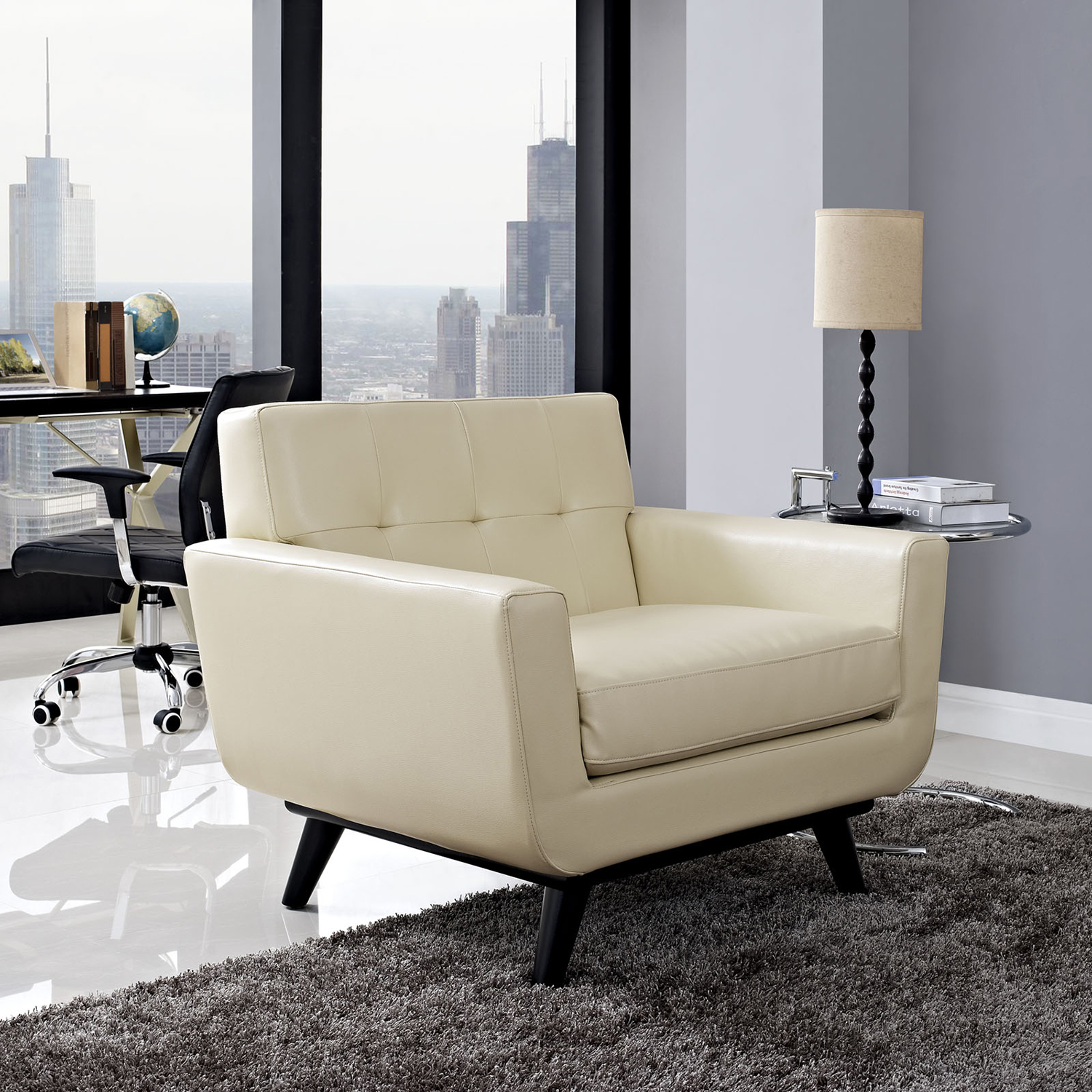 Engage Bonded Leather Armchair - Tufted, Beige - EEI-1336-BEI