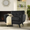 Engage Bonded Leather Armchair - Tufted, Black - EEI-1336-BLK
