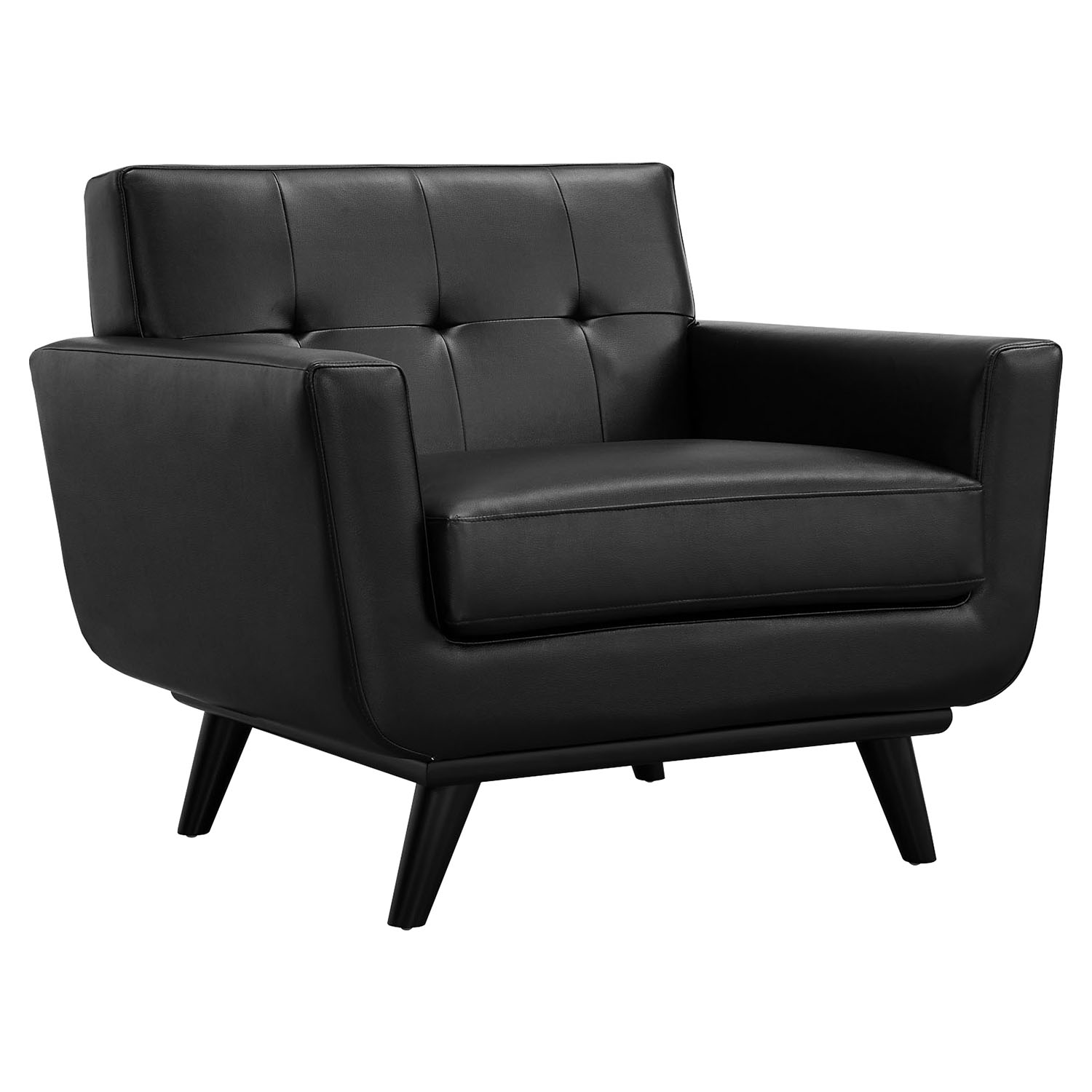 Engage 3 Pieces Tufted Leather Sofa Set - Black - EEI-1763-BLK-SET