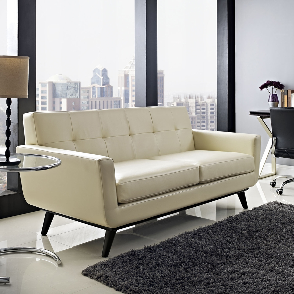 Engage Bonded Leather Loveseat Tufted Beige Dcg Stores