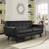 Engage Bonded Leather Loveseat - Tufted, Black - EEI-1337-BLK
