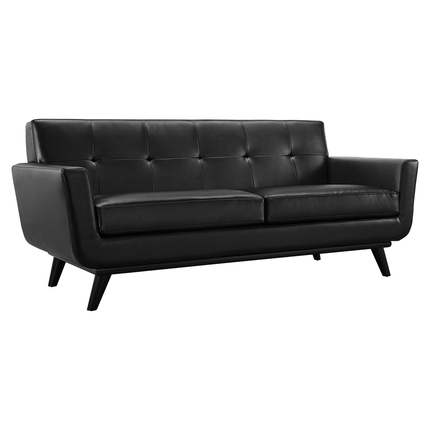 Engage 2 pieces leather sofa set tufted black dcg stores for Tufted couch set