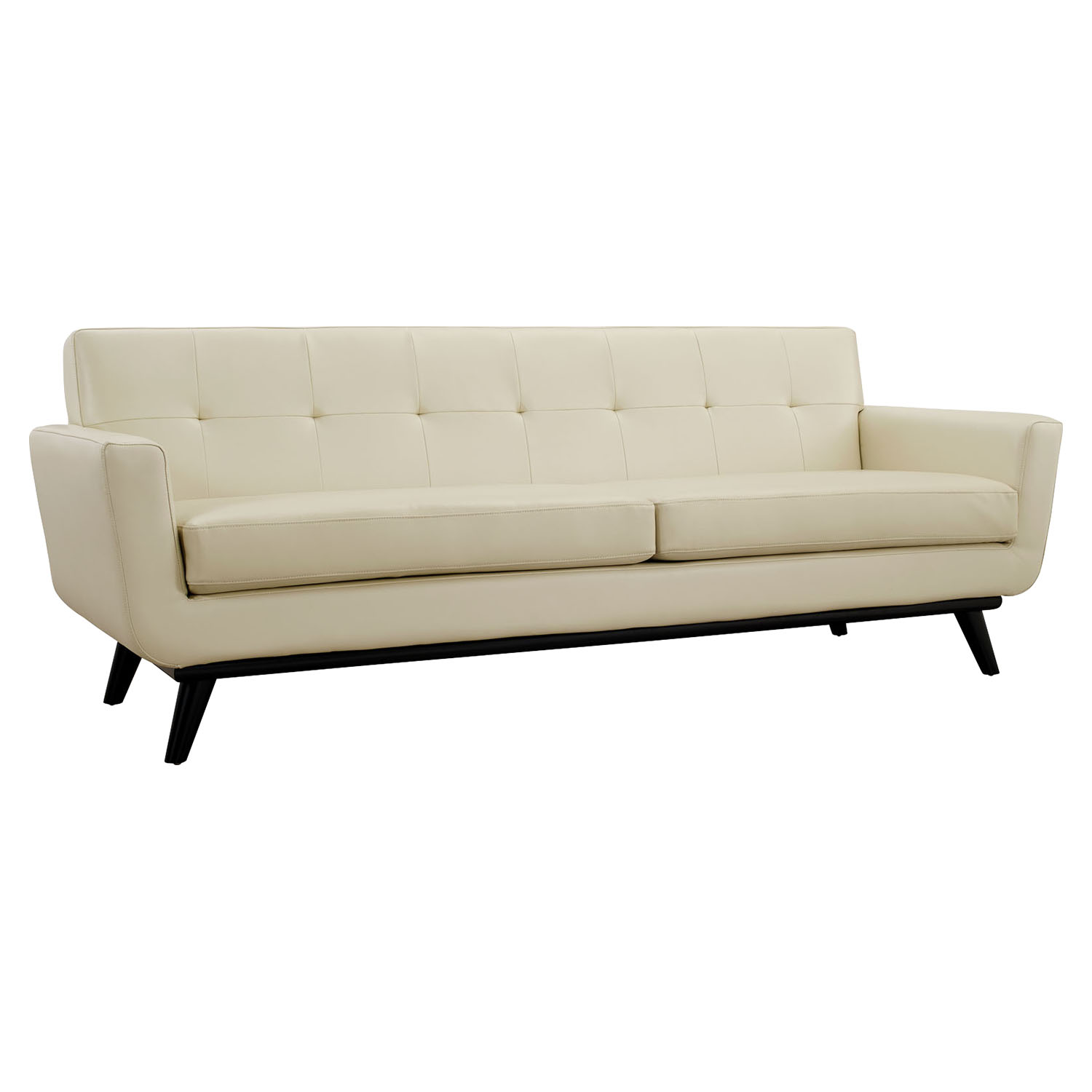 Engage Bonded Leather Sofa - Tufted, Beige - EEI-1338-BEI