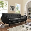Engage Bonded Leather Sofa - Tufted, Black - EEI-1338-BLK