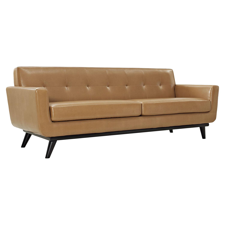 Engage 3 Pieces Tufted Leather Sofa Set Tan EEI 1763 TAN SET