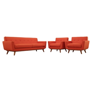 Engage 3 Pieces Armchair and Sofa - Tufted