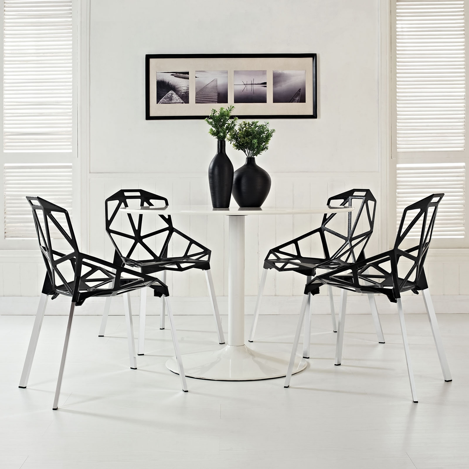 Connections Backrest Dining Chair - Black (Set of 4) - EEI-1359-BLK