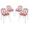 Connections Backrest Dining Chair - Red (Set of 4) - EEI-1359-RED