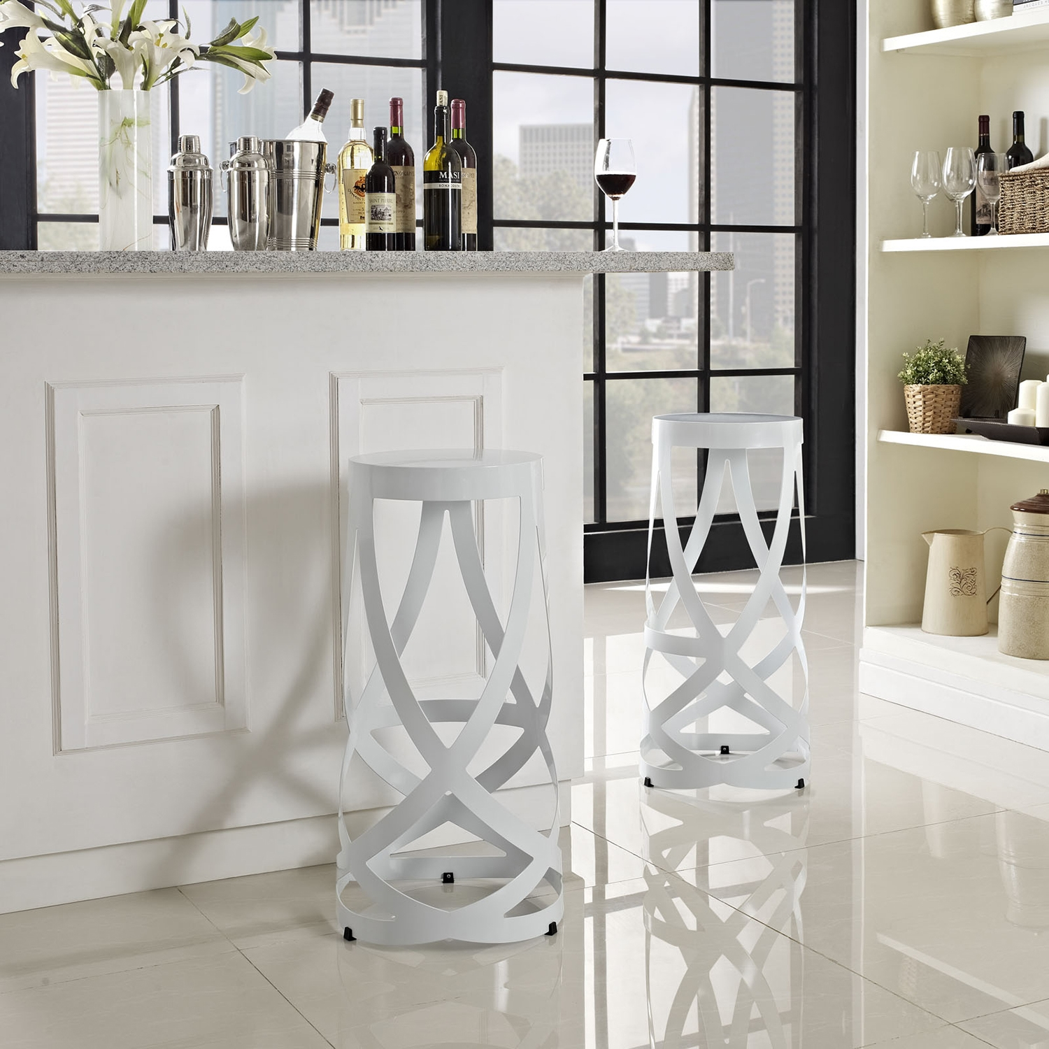 Ribbon Bar Stool - Backless, White (Set of 2) - EEI-1360-WHI