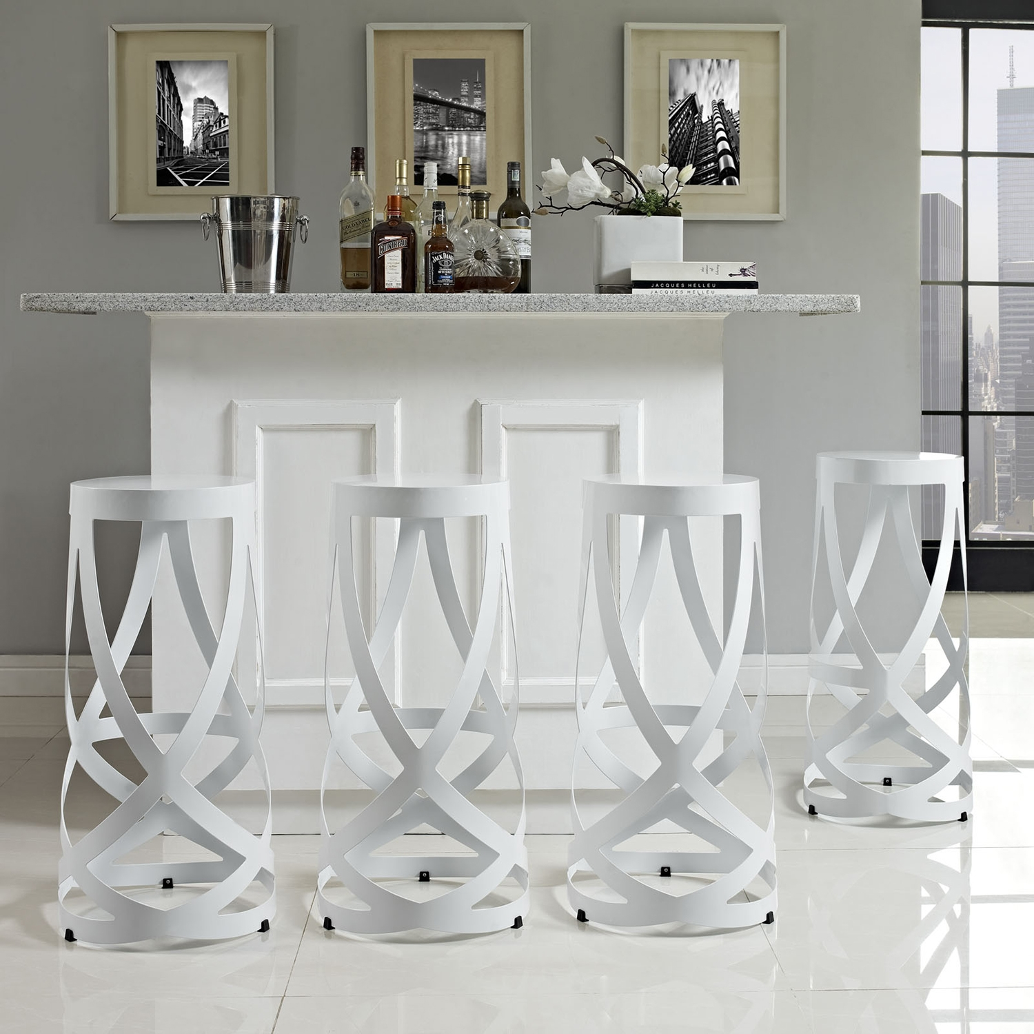 Ribbon Bar Stool - Armless, White (Set of 4) - EEI-1361-WHI