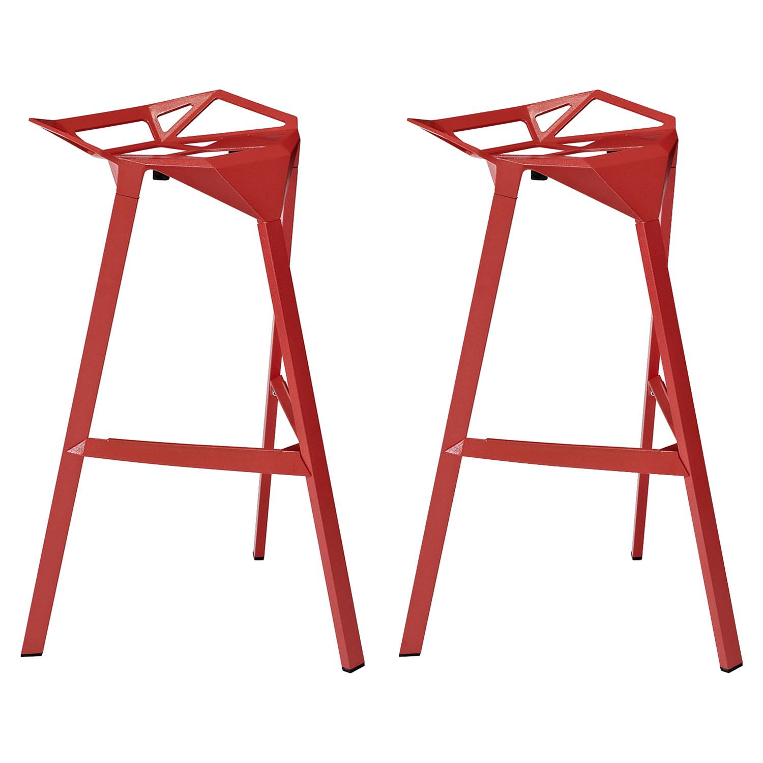 Launch Stacking Bar Stool Backless Red Set Of 2 Dcg