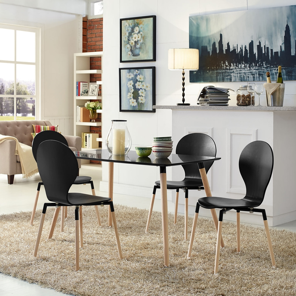 path dining chair wood legs black set of 4 dcg stores. Black Bedroom Furniture Sets. Home Design Ideas