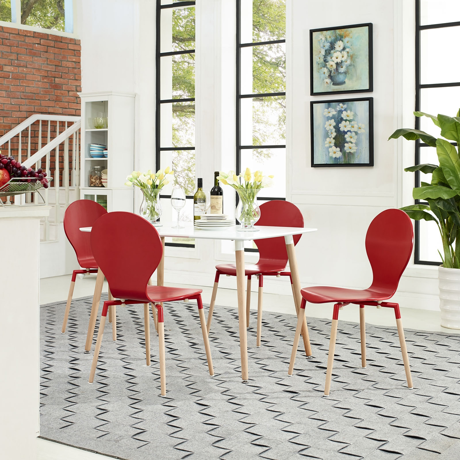 Path Dining Chair - Wood Legs, Red (Set of 4) - EEI-1369-RED