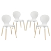 Path Dining Chair - Wood Legs, White (Set of 4) - EEI-1369-WHI