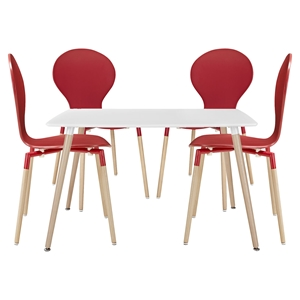 Path 5 Pieces Dining Set - Red