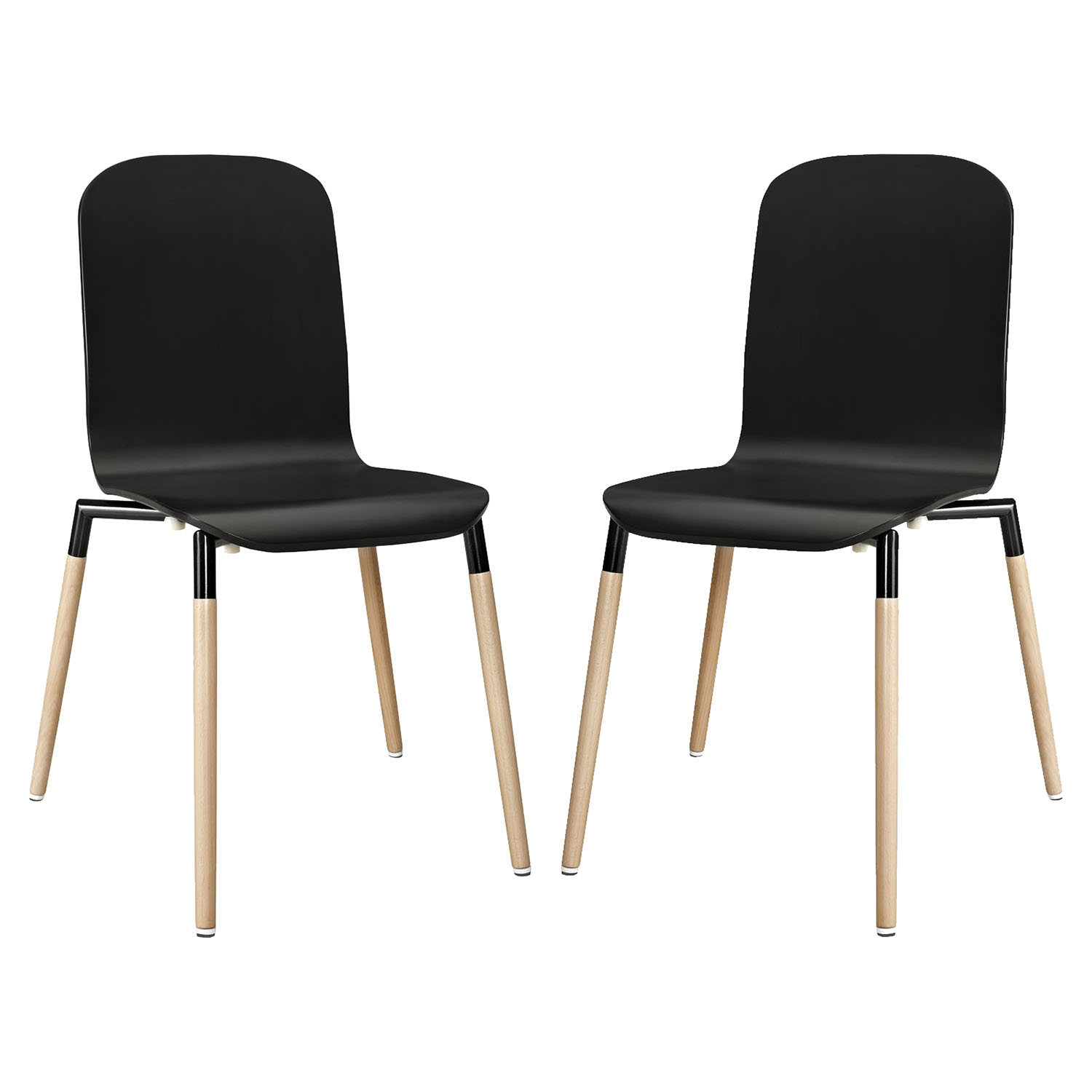 Stack Dining Chair - Wood Legs, Black (Set of 2) - EEI-1372-BLK