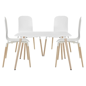Stack 5 Pieces Dining Set - White