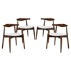 Stalwart Leatherette Dining Side Chair - Dark Walnut, White (Set of 4) - EEI-1378-DWL-WHI