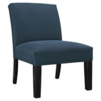 Auteur Fabric Accent Chair - Wood Legs, Azure